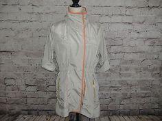 Luii Womens S Silver/Orange Shiny Windbreaker Jacket Gold Zippers   | eBay
