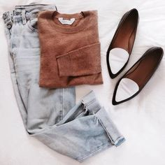 Casual Jeans, Knit Jumper and Pointed Flats