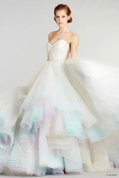 pastel rainbow wedding dress