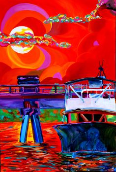 """Nature at sunset, but it  is really a portrait. Fading into the front hull background  on the """"Stephanie D"""" is the owner of the boat, playing his guitar and singing into a mic. He is singing..."""