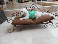 Pet Bed for Dogs and cats, hand forged, hand made fine wrought iron, electrostatic burned cooper paint. Can be fabricated in any color and size by request. Dog House Bed, Dog Bed, Metal Worx, Wrought Iron Decor, La Forge, Metal Working Tools, Steel Art, Iron Furniture, Iron Art
