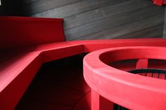 Bright red sauna benches and dark sauna panels Timber Cladding, Benches, Bright, Canning, Dark, Interior, Red, How To Make, Photos