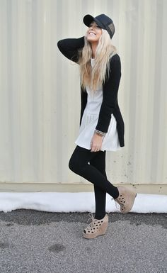 Dress - Tailor & Stylist | Cardigan - Gap | Tights - H | Shoes - Windsor | Hat - Forever21 | Rhinestone Bracelet - PB Boutique | Snake Bracelets - H | Heart Ring - T Boutique | Thumb Ring - gift from the husband