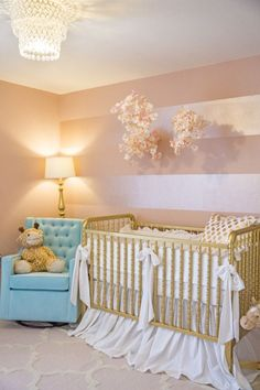 Project Nursery - Pink and Gold Nursery with Metallic Stripes on Accent Wall