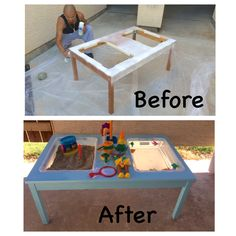 We wanted a water and sand activity table for our 4 year old for some time now. We had our old ikea 4 person kitchen table just sitting in the garage. Then one day it came to us to DIY that into exactly what we wanted! We bought big bins at walmart with lids. Cut out the measurements for it in the table top. Slipped the tubs in, added a pretty aqua blue paint, sandbox sand, and some water toys and finished! Our own DIY sand and water table! Our 4 year old LOVES it!