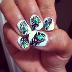 love these peacock nails!!!   Tutorial:  Paint nails white, then with a nail detailer, lightly swish dark lines on your nail, and then taking a blue and green color, make circles.