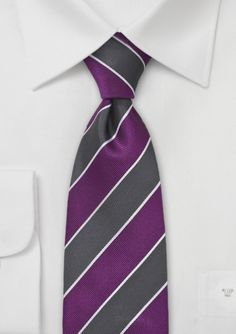 Modern repp striped tie in purple and charcoal