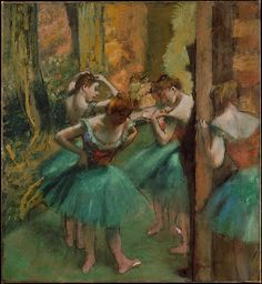 Dancers, Pink and Green Artist: Edgar Degas (French, Paris 1834–1917 Paris) Date: ca. 1890 Medium: Oil on canvas Dimensions: 32 3/8 x 29 3/4 in. (82.2 x 75.6 cm) Classification: Paintings