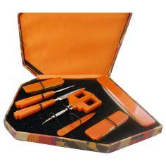 Vintage Bakelite Manicure Set and Box: Removed Dresser Sets, Manicure Set, Art Deco Furniture, Vintage Vanity, Art Deco Jewelry, Vanity Set, Vintage Beauty, Orange Color, Perfume Bottles
