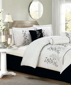 White & Black Locklyn Leaf Comforter Set by Duck River Textile on #zulily