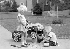 What's ya doin? I'm fixin my car. Can I have a ride when your done fixin it ? No, it;s a boy's car!