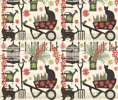spring gardening on yellow fabric by kociara on Spoonflower - custom fabric Textile Prints, Textile Design, Fabric Design, Textures Patterns, Fabric Patterns, Print Patterns, Conversational Prints, Sewing Room Decor, Cat Fabric