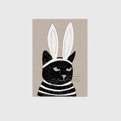 Studio Rainbow Prints / Kinderposter poes op kraftpapier met konijnenoren / Stripes - Black and white Kidsroom poster