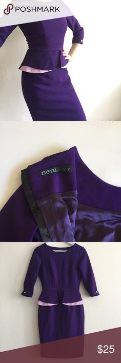 Dark purple officewear business dress It's in excellent condition from a high quality brand in Vietnam, you can look up the brand online. Got this when I was traveling there together with a bunch of cute office clothes. I'm declustering my closet so I'm selling almost everything. It's fully lined and extremely flattering. It creates the glass hour figure even though I don't actually have it LOL. 😅Fits like a 4 H&M or an 0 Ann Taylor. NEM Dresses