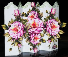 Concertina Pink English Roses Card Kit Designed by DigitalHeaven, £2.00