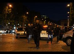Fench Police during Potuguese Fans celebration on an Euro 2012 Soccer victory  in  Champs Elysees Paris