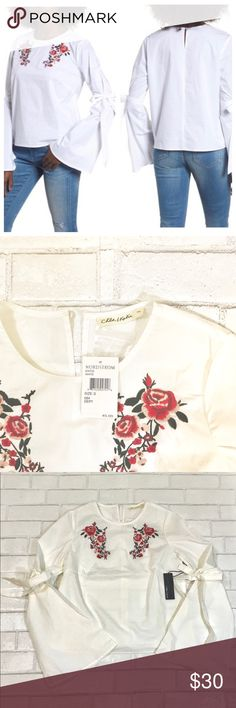 Chloe & Katie Womens Sz S Floral Bell Sleeve Top Chloe & Katie White Floral Size Small Bell Sleeved Top Shirt. The floral embroidery adds a fresh look to the Stretch-cotton top. Back keyhole with Button closure. 97% Cotton, 3% Spandex - Hand wash - Line Dry Chloe & Katie Tops Tees - Long Sleeve