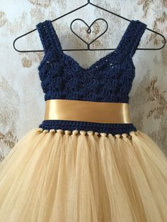 Navy and gold empire flower girl tutu dress crochet by Qt2t
