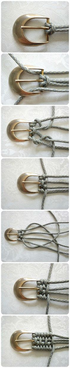 Tutorial: Belt Weaving Using Nylon Cord Accessories Do-It-Yourself Ideas Here is an idea I had never seen to weave a belt. Here's a different kind of Tutorial: Belt Weaving! Use nylon paracord and be zombie-apocalypse ready, too! Fun Crafts, Diy And Crafts, Handmade Crafts, Diy Jewelry, Jewelry Making, Metal Jewelry, Jewelry Necklaces, Diy Accessoires, Paracord Projects