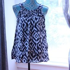 NEW Linen Ikat Tank NWT - linen, ikat pattern, navy and white tank Kenar Tops Tank Tops