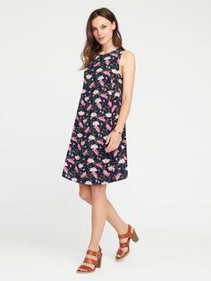 Printed sleeveless dress to pair with cardigan, shrug