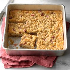 Rhubarb Cheesecake Squares Recipe -It's rhubarb season, so now's the time to try this rich and tangy cheese bar. It's bound to be a hit with the rhubarb lovers you know. —Sharon Schmidt, Mandan, North Dakota