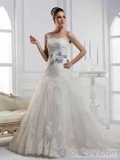 A-ラインワンショルダーフラワーロングフロアチャペルトレーンウェディングドレス