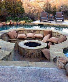 Creative Tips: Small Fire Pit backyard fire pit seating. Fire Pit Backyard, Backyard Patio, Backyard Landscaping, Landscaping Ideas, Fire Pit In Pool, Sunken Patio, Hot Tub Patio, Backyard Storage, Round Fire Pit