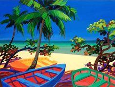Selected artwork and art prints from Caribbean life artist Shari Erickson Haitian Art, Caribbean Art, Kunst Poster, Arte Popular, Tropical Art, Surf Art, Naive Art, Cool Posters, Beach Art