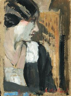Edouard Vuillard: Profil de Femme, oil on board Pierre Bonnard, Edouard Vuillard, Harlem Renaissance, Maurice Denis, Avant Garde Artists, Illustration Art, Illustrations, Post Impressionism, Impressionist Paintings
