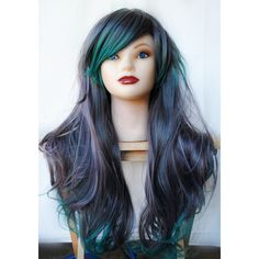 SALE Green wig, cosplay wig, scene wig, emo wig // Gray Teal Hair //... ($76) ❤ liked on Polyvore featuring beauty products, haircare, hair styling tools, hair, wig, bath & beauty, grey, hair care, straightening iron and styling iron