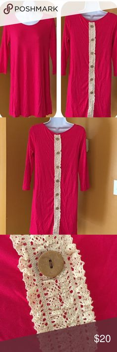 FUCHSIA LACE DETAIL TUNIC Soft. Round neck. 3/4 sleeve. Made in USA. -No trades 51Twenty Tops Tunics