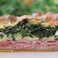 Kale Quiche: packed with sautéed kale, swiss cheese, ham and parmesan, this quiche will be your new favorite brunch item! Make it over the weekend and reheat for breakfast during the week.