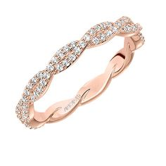 Diamond wedding with a twist in rose gold. Can be worn alone or in a stack. Style:33-V93C4R65 #ArtCarvedBridal #ArtCarvedStackables