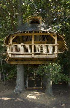 Here is a tree house built using roundwood.  Animals can live above and below the people.  (Almost) Zero impact living.