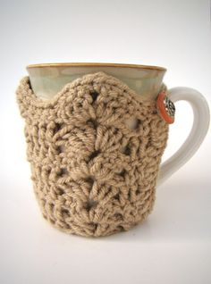 Tapered Cup Cozy Crochet Mug Sweater Tan Mug Cozy by HookMadness, $12.00