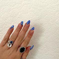 Edgy Nails, Funky Nails, Stylish Nails, Swag Nails, Nail Design Stiletto, Nail Design Glitter, Blue Gel Nails, Nail Jewelry, Fire Nails