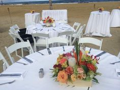 Flowerful Events | August 2014 | Ocean Place Resort & Spa | Low Centerpiece | Tropical Theme | Bright Colors | Outdoor wedding | Flowerful Events
