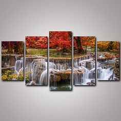 5+Panels+Red+Maple+Tree+and+the+Waterfall+Landscape+Canvas+Print+Art+for+Livingroom+Decoration+Unframed+–+USD+$+30.59