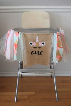 Unicorn first birthday banner.Pink mint and gold highchair banner.Little girl first birthday. Summer Birthday, Unicorn Birthday Parties, Unicorn Banner, Fabric Tutu, First Birthday Banners, Wall Banner, High Chair Banner, Party Banners