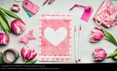 pink tulips, envelope wit heart, flat lay inspiration, spring look