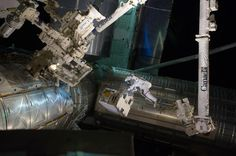 Spacewalker Ron Garan rides on the International Space Station's robotic arm as he transfers a failed pump module to the cargo bay of space shuttle Atlantis July 12, 2011. REUTERS/NASA/Handout