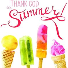 Thank God It's Summer Ice Cream Popsicle Watercolor Home Print (£12) ❤ liked on Polyvore featuring home, home decor, wall art and watercolor wall art