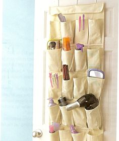 Shoe Organizers. If you can't add shelves, you can get a ton of storage without drilling holes by utilizing a shoe organizer on the back of the door. A clear one makes it easy to find what you need. Great for bathroom items, toys, art & sewing, gift-wrapping, laundry room, garage items or hair accessories. Use clear for a planter. Use for traveling.