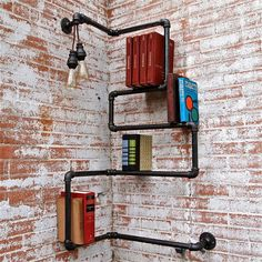 Industrial Pipe Corner Shelf Press On by stellableudesigns on Etsy, $249.00