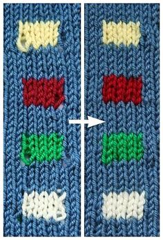A Great Technique for Neater Color Changes Knitting with different colors, whether stripes, stranded knitting or intarsia, is a lot of fun and a great way to bring personality to your knitting projects. But it can be difficult to make your … Knitting Help, Knitting Stiches, Knitting Needles, Loom Knitting, Crochet Stitches, Hand Knitting, Intarsia Knitting, Knitting Buttonholes, Beginner Knitting