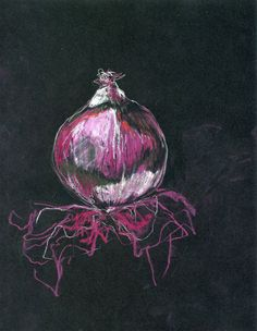 Red Onion chalk on black. Drawing Projects, Art Projects, Chalkboard Drawings, Chalkboard Lettering, Natural Form Art, Observational Drawing, Guache, A Level Art, Still Life Art