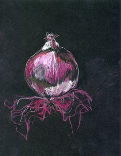 Red Onion chalk on black. Stunning.