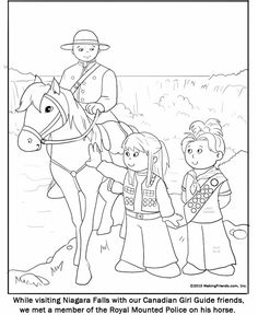 Canadian Guide Coloring Page. Print these out and leave them at your table for World Thinking day. More printables on MakingFriends.com