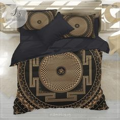 Spiritual yoga bedding, Sacred crown chakra OM duvet cover set, boho s - ARTBEDDING